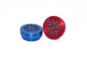 capsule aluminium anodisé rouge bleu