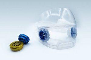 masque transparent avec capsule aluminium